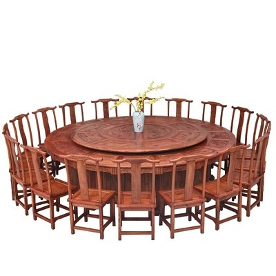All solid wood dining table and chair combination round table with turntable Modern simple 8-person dining table Household small apartment hotel
