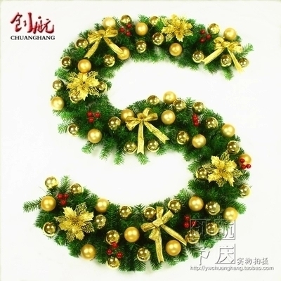 Christmas Decorations Rattan 2 7m Luxury Special Crypto Golden Christmas Tree decoration Rattan garland Pine branches