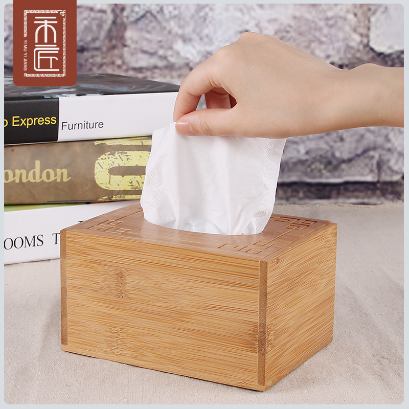 A wood and a carpenter living room coffee table hotel draw paper box can be customized logo home storage box tissue box bamboo and wood creative