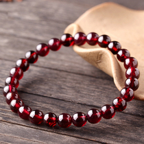 Tongsheng (jewelry)Natural crystal garnet beads hand string single circle female crystal jewelry