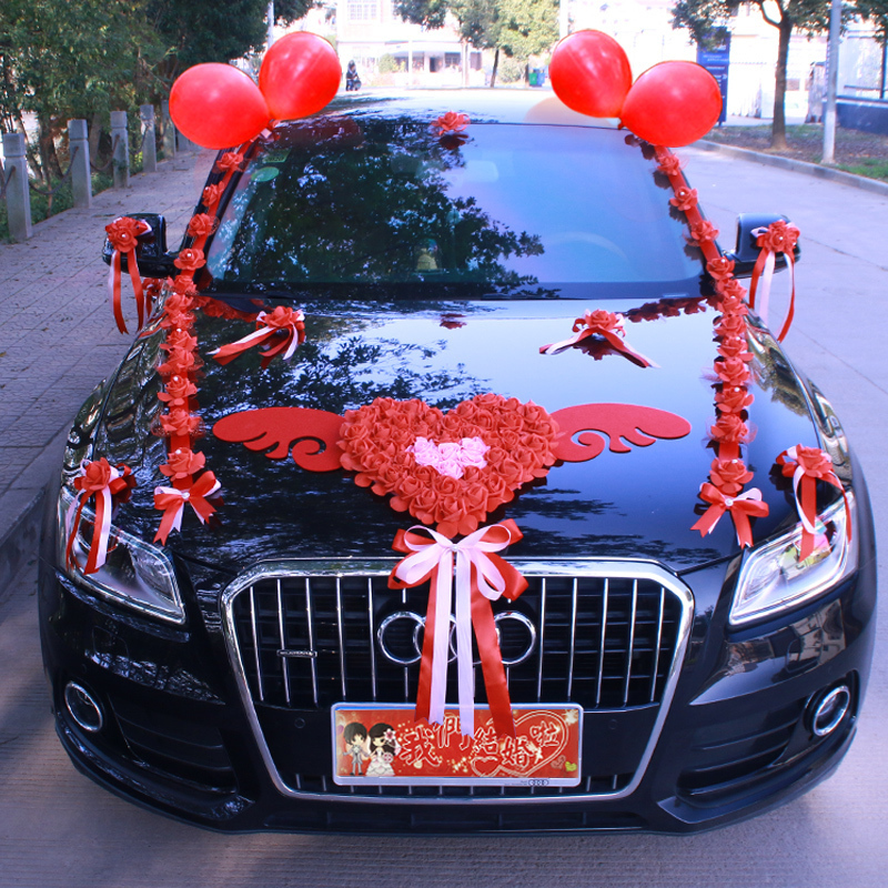 New wedding car decoration set pull flower wedding wedding wedding wedding car simulation front flower flying