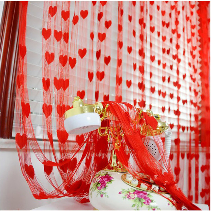Wedding supplies Wedding door curtain Red wedding room decoration curtain partition door peach heart-shaped love cord curtain