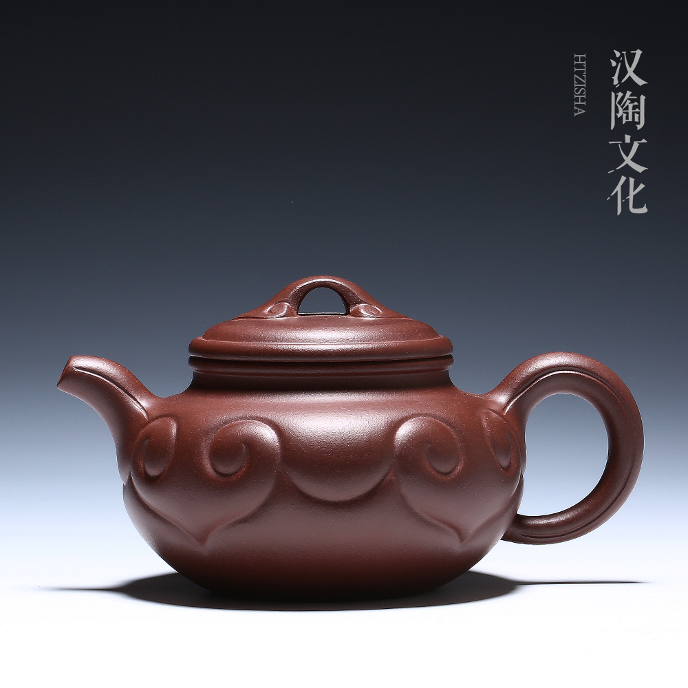 Yixing purple sand pot famous pure handmade ore old purple mud bottom groove Qing antique Ruyi pot teapot tea set