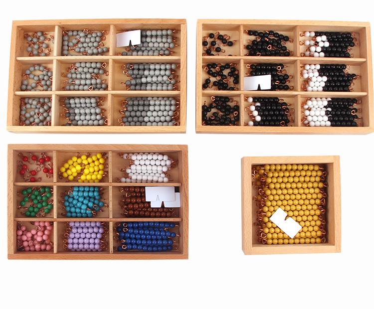 蒙臺蒙特梭利蒙氏数学教具幼儿园早教玩具灰色黑白彩色串珠棒阶梯详细照片