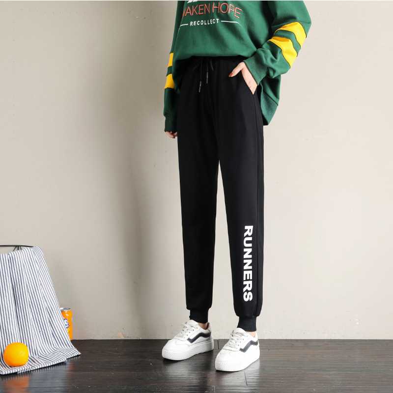 休闲运动裤女春季2020新款哈伦裤宽松束脚学生外穿休闲运动女裤子