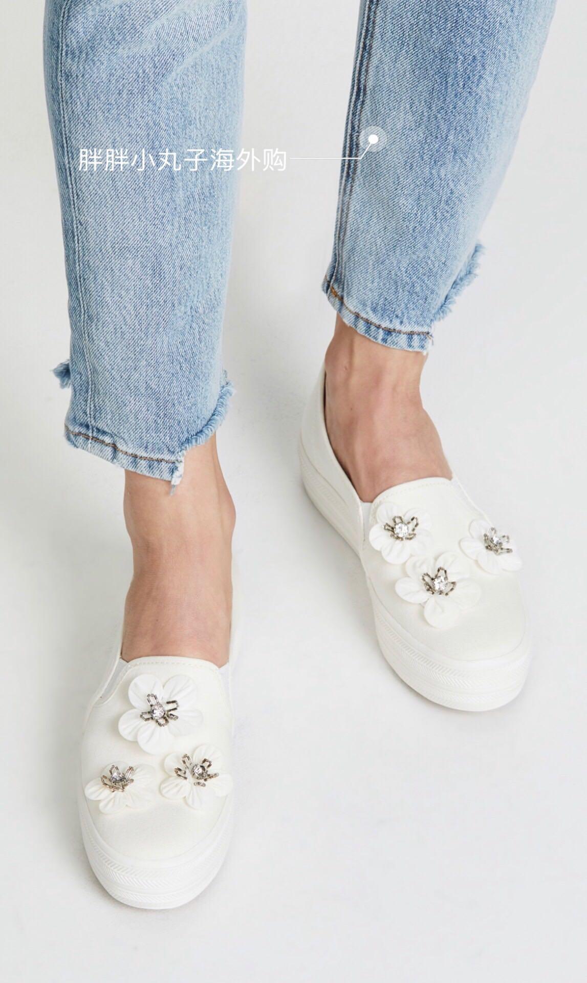 美国代购keds×kate spade合作款花朵运动休闲鞋3cm厚底平底单鞋