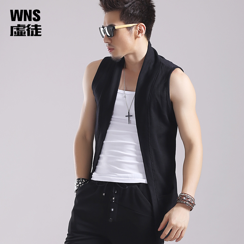 2e9bef3934a46 Spring and summer cardigan jacket male hair stylist personality handsome  Tide men vest Sleeveless Vest male slim thin sweater