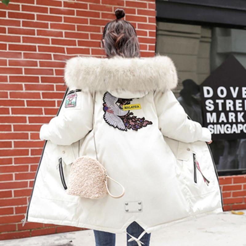 反季棉服女中长款韩版羽绒棉袄加厚大毛领2021宽松保暖学生棉衣女