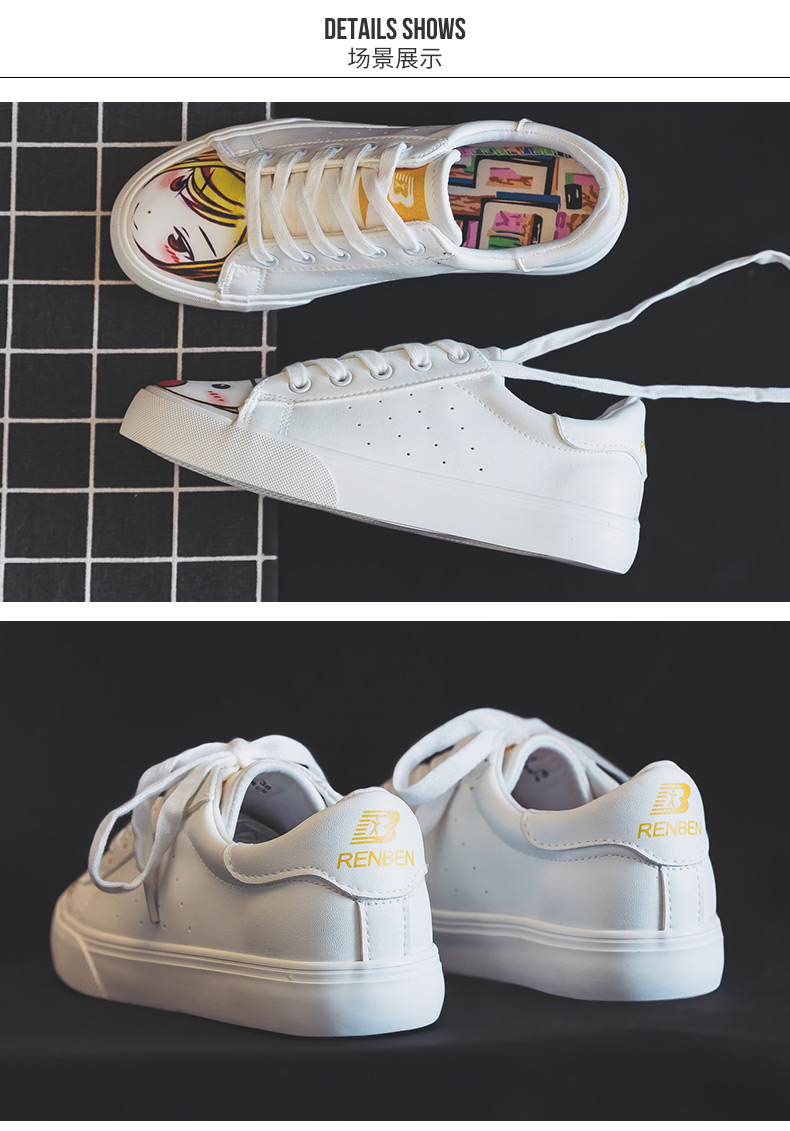 2019 small white shoes female Korean version girls canvas shoes students white shoes flat casual sports graffiti shoes 19