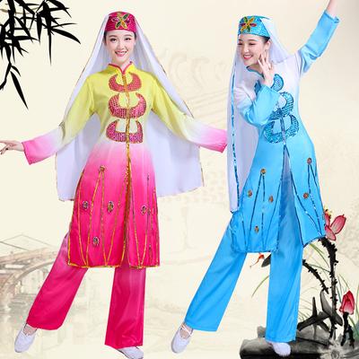 Folk Dance Costumes Dongxiang Salar Hui dance dress female adult Ning minority Muslim festival worship dress
