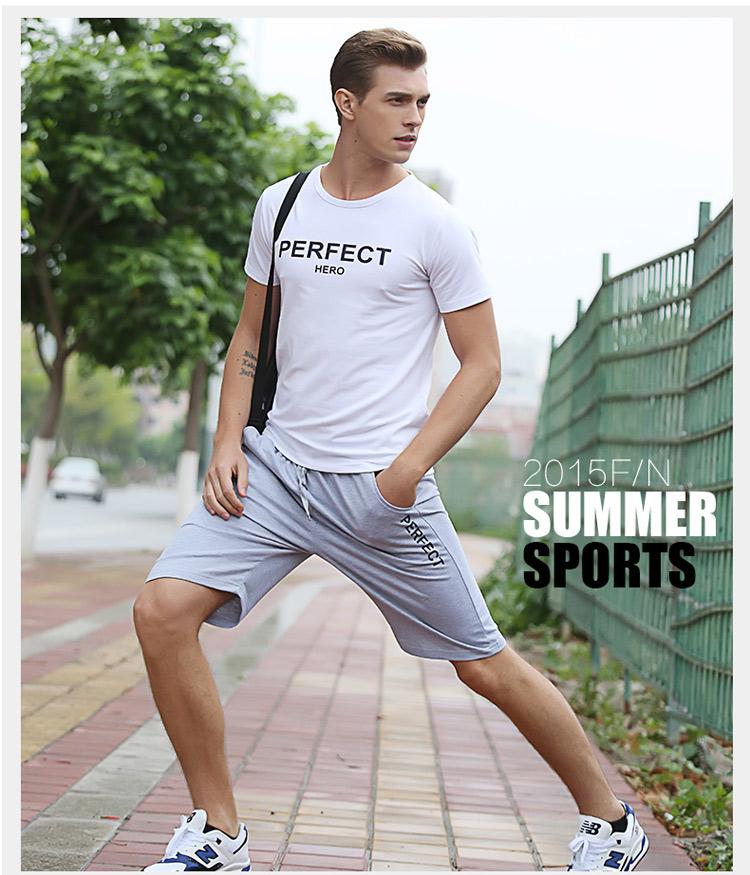 夏季男运动套装短袖t恤
