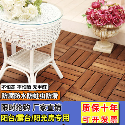 Anti-corrosion wood floor outdoor terrace balcony floor laying stitching self-paving carbonized wood floor plastic wood flooring