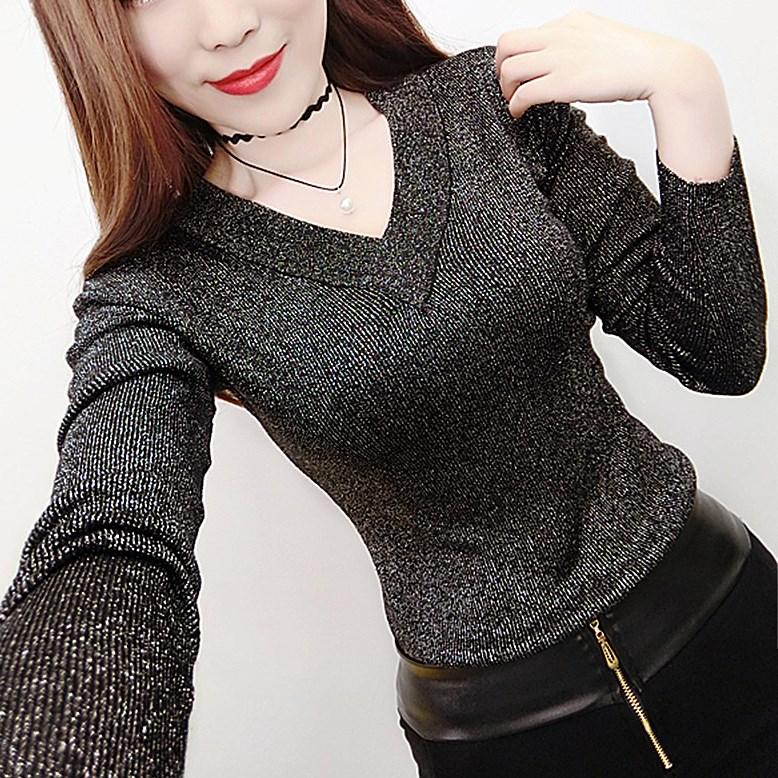2017长袖新款韩版前后双V领上衣亮丝针织衫女套头毛衣春装衫打底