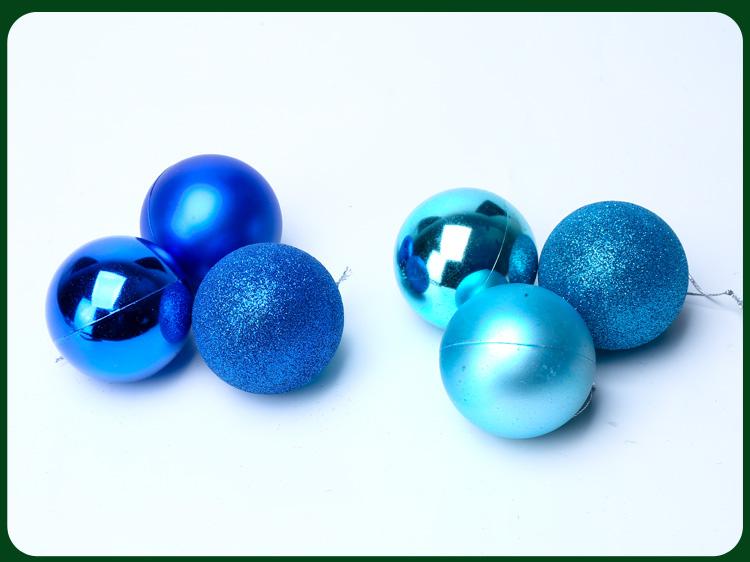 聖誕裝飾品亮光聖誕球啞光球聖誕樹掛飾電鍍吊球6個混裝3/6CM彩球
