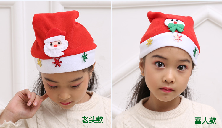 聖誕節兒童聖誕帽卡通小孩聖誕帽寶寶發光聖誕帽鹿角帽聖誕節裝飾