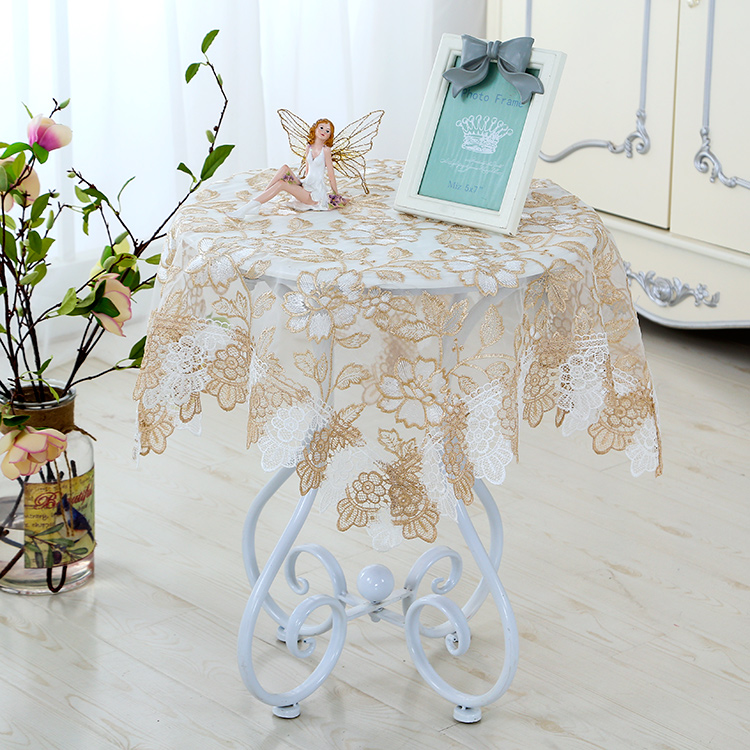 Coffee Table Tablecloth European Lace Fabric Cover Cloth Bedside Gl Yarn Round Small