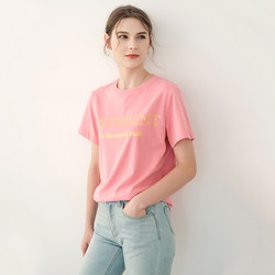 Pink and white feeling cherry blossom pink pure cotton short-sleeved t-shirt women's top summer 2020 new female ins tide loose