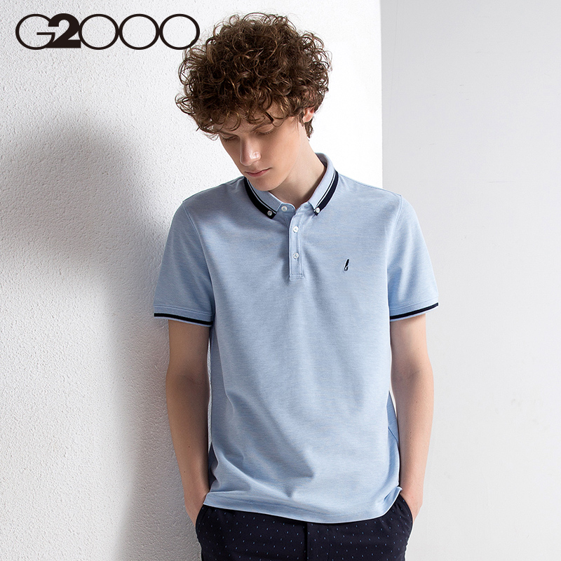 bdd65742 G2000 trend easy to wear short-sleeved knit T-shirt men's POLO shirt casual  breathable lapel shirt