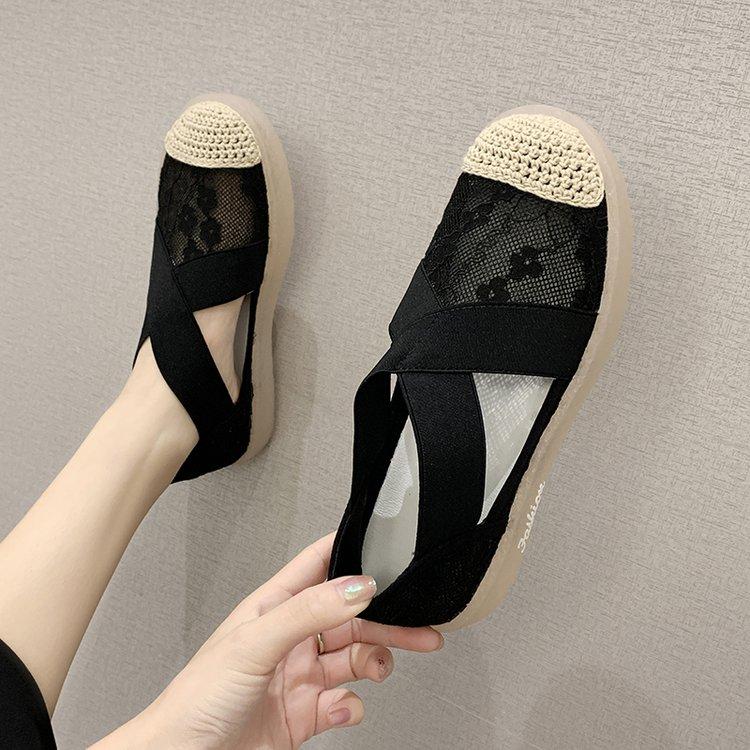 2020夏季新款单鞋网布布圆头2020年春季平底单鞋橡胶套脚女鞋深口