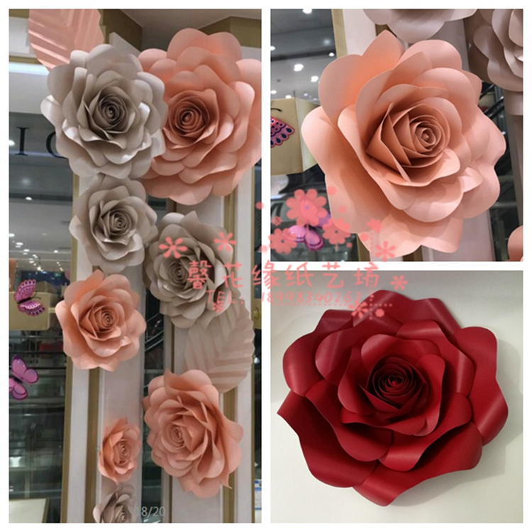 Usd 543 wedding paper flower wedding stage background props large wedding paper flower wedding stage background props large simulation handmade paper flower rose festival shop window mightylinksfo