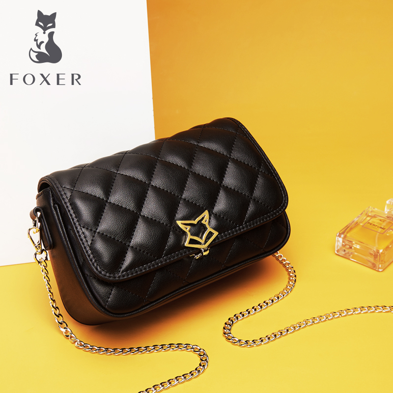 1f47cf9765 Golden Fox female bag chain bag leather rhombic bag shoulder Messenger bag  fashion wild 2018 new small square bag