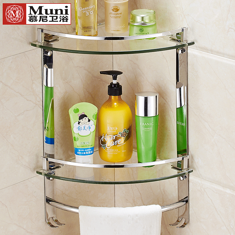 USD 27.23] Glass gussets 304 stainless steel gussets bathroom racks ...