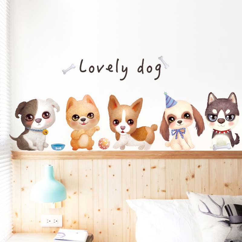 . Creative puppy wall stickers living room bedroom room bedside warm  self adhesive wallpaper stickers dormitory wall decoration stickers