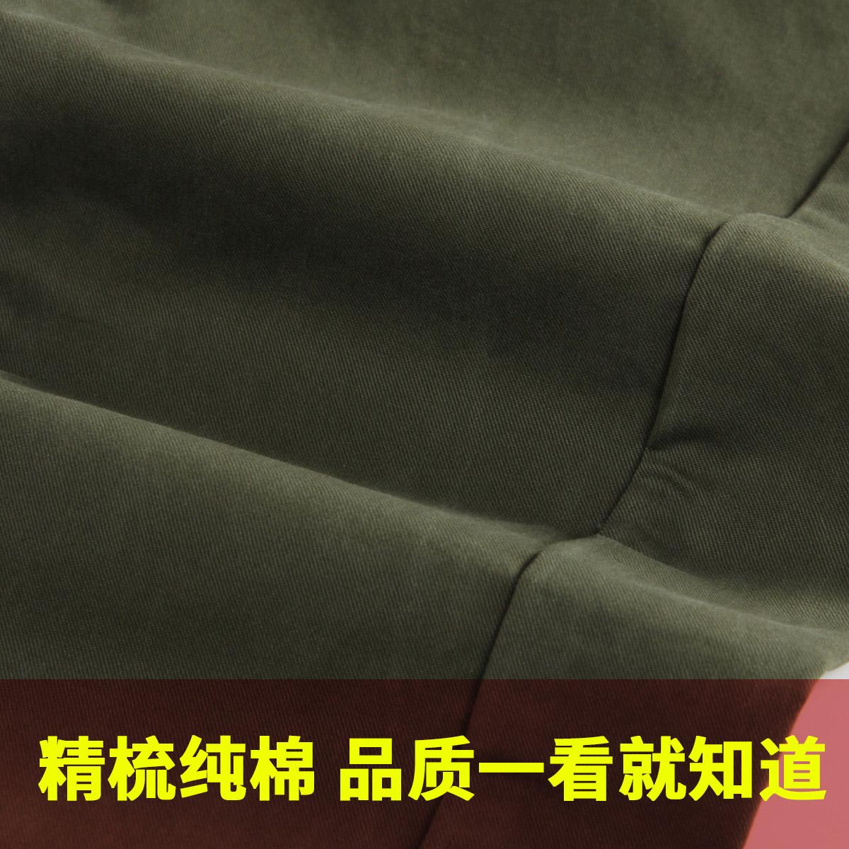 高品质 秋冬季纯棉男士休闲裤男 修身直筒韩版潮流男裤军绿色裤子
