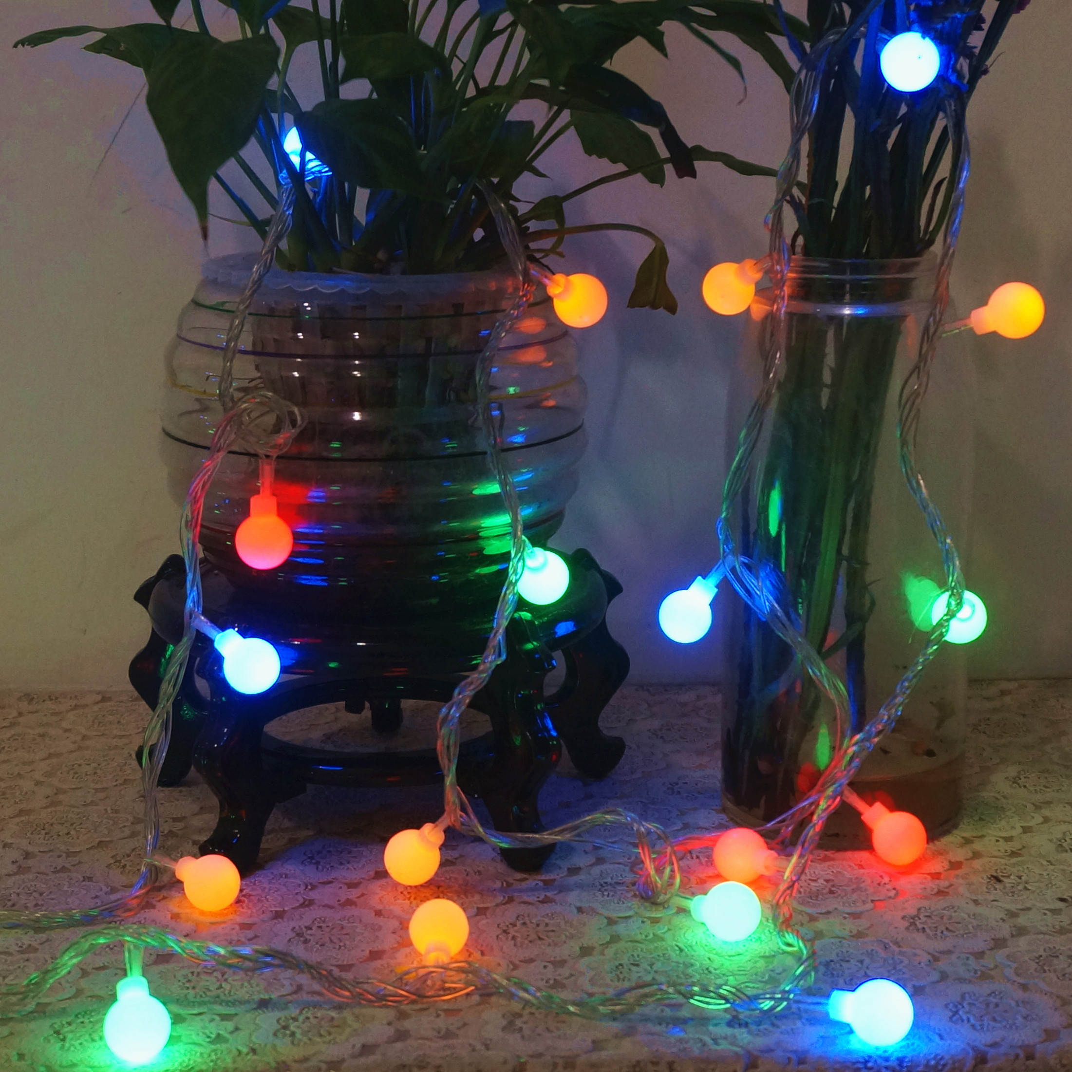 festive led lights flashing lights star string lights round ball waterproof lights string christmas lanterns wedding