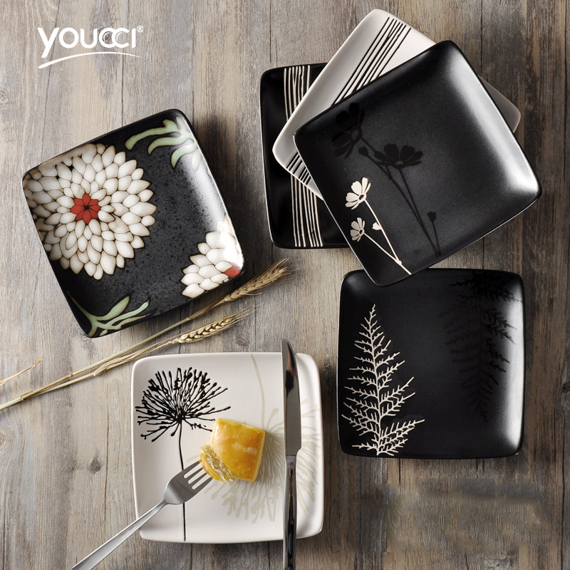 Youcci sứ bộ đồ ăn sáng tạo vuông Nhật Bản tấm gốm món ăn nhà tấm bít tết bữa ăn sáng Phương Tây tấm