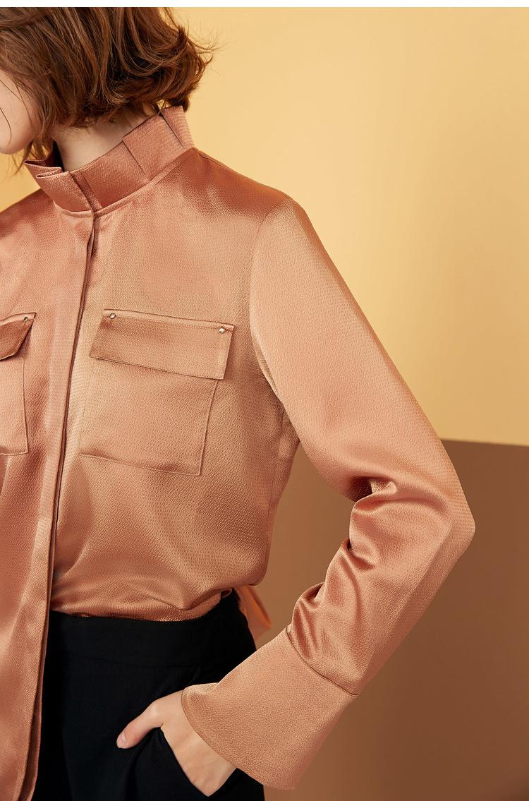 Lily2018冬新款女装直身版型,对称口袋,商务感衬衫 4