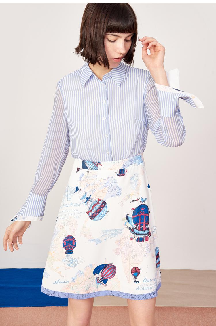 预售Lily2019春新款商务假两件,条纹印花,商务年轻风景连衣裙