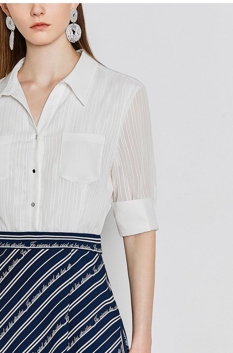 Lily2019夏新款女装假两件,不规则下摆,袖口翻边短袖连衣裙7961