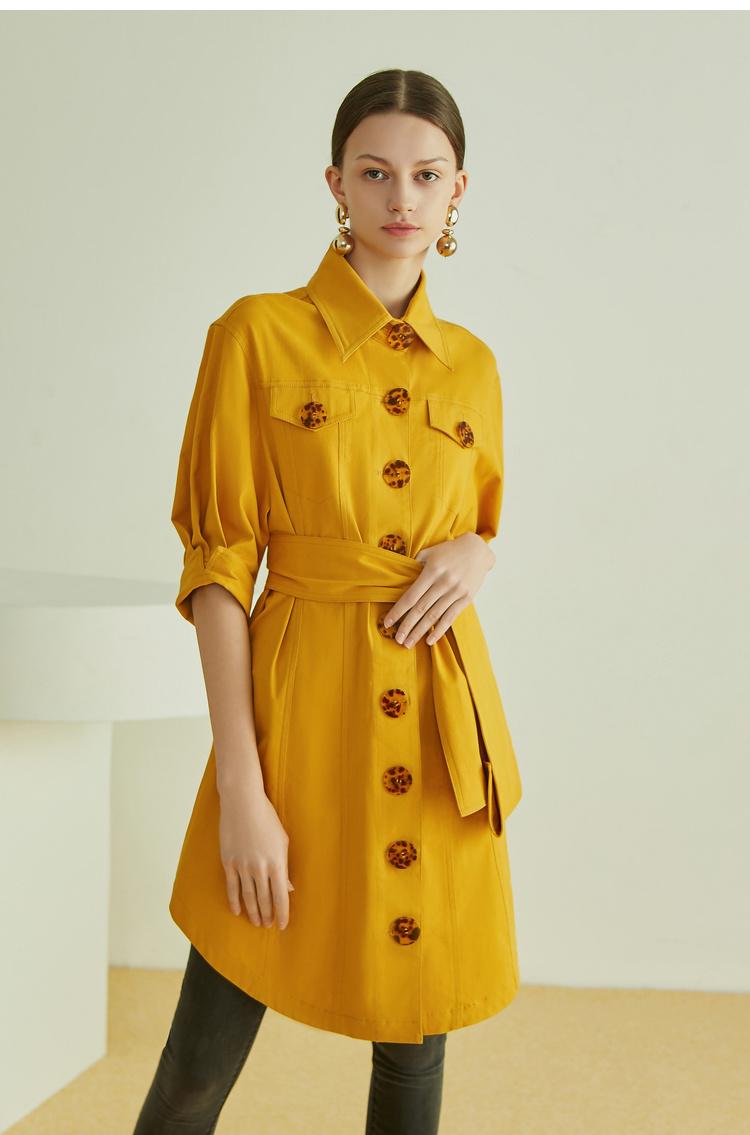 Lily2019夏新款女装纽扣衬衫连衣裙