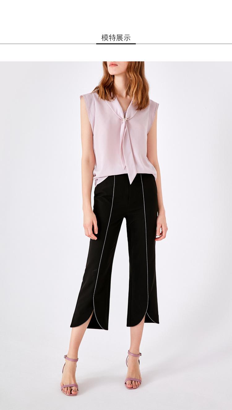 Lily2019夏新款女装喇叭裤,修身版型,黑色显瘦裤喇叭裤