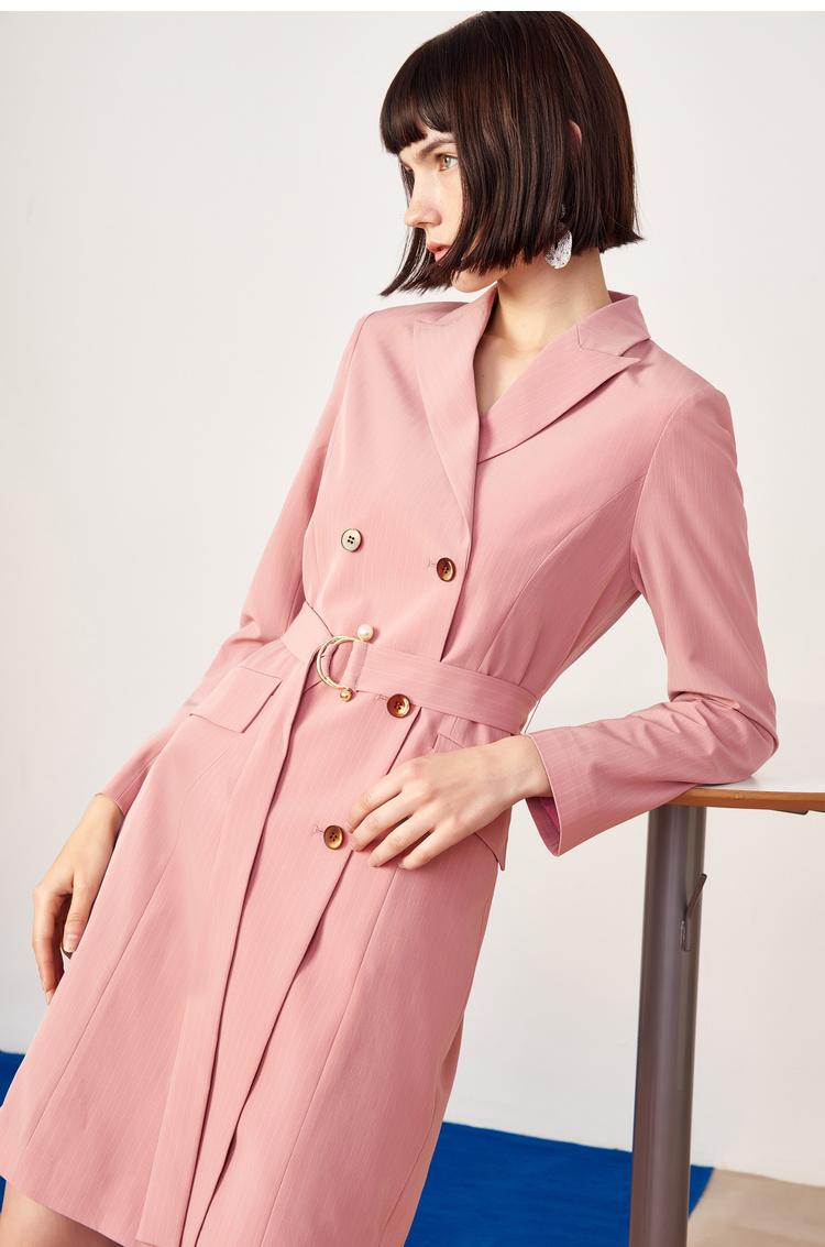 Lily2019春新款女装两穿条纹风衣外套带西装领连衣裙