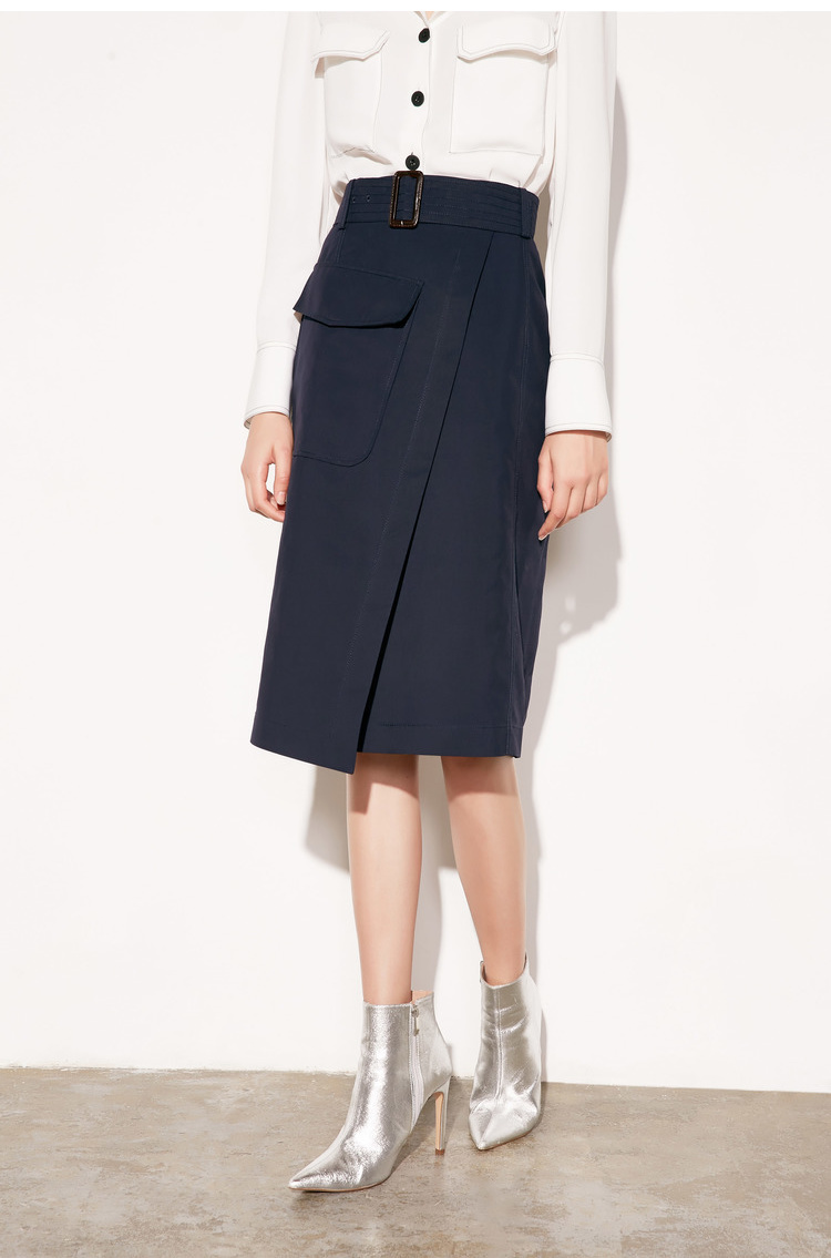 Lily2019春新款女装商务挺括面料显瘦藏青中长款西装裙半身裙