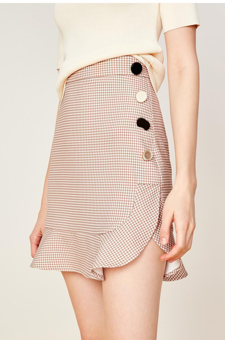 【李沁同款】Lily2019夏新款女装千鸟格鱼尾半裙,纽扣装饰,精致商务鱼尾裙短裙半身裙