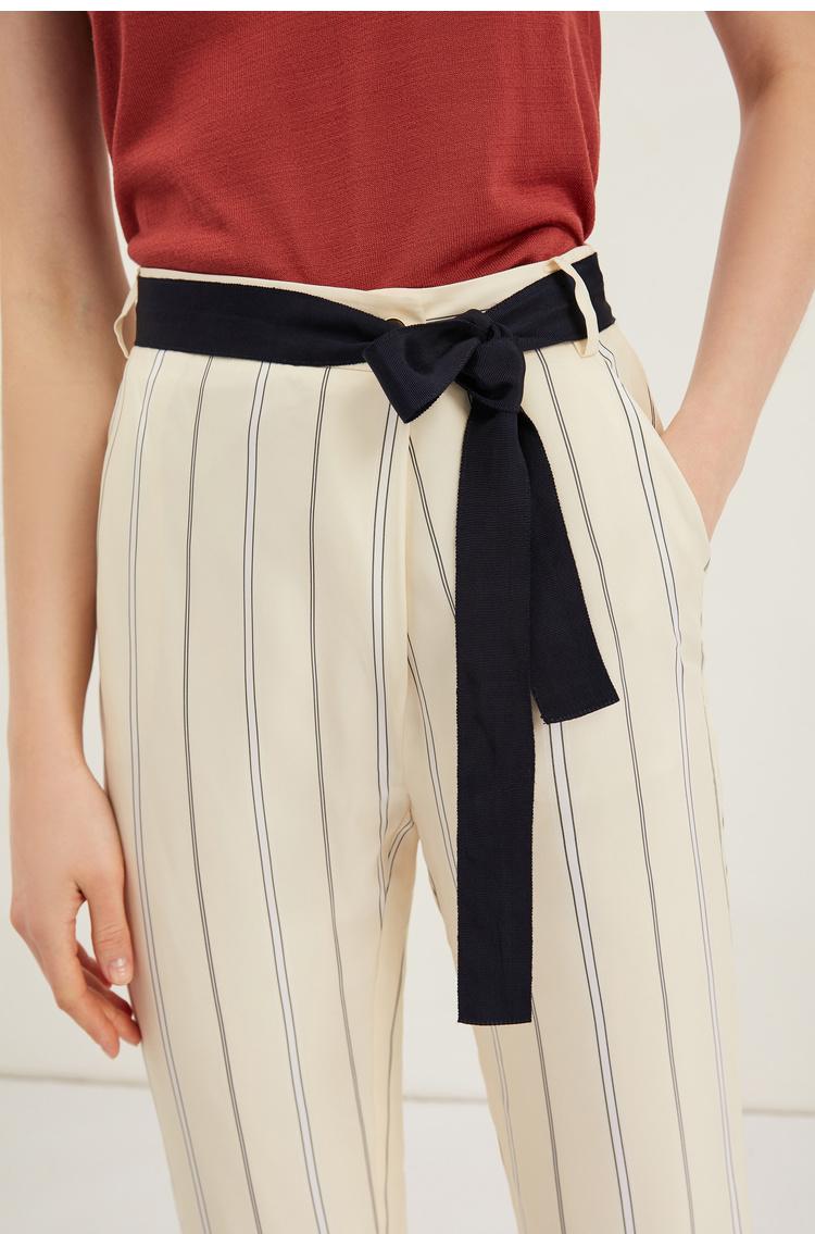 Lily2019夏新款撞色腰带,气质条纹,修身锥形裤松锥形裤女