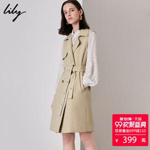 Lily2018 mùa thu mới của phụ nữ kinh doanh đi làm đôi ngực phần dài ren vest 118349C0902