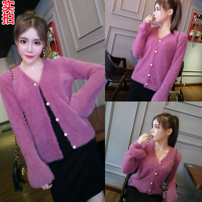 2017 autumn and winter new women's Korean version of the pure plush wild thin long-sleeved V-pin 615 knit cardigan jacket