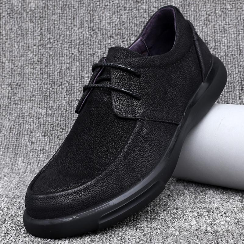 秋季新款男士皮鞋头层牛皮磨砂皮真皮加绒加棉商务休闲系带男皮鞋