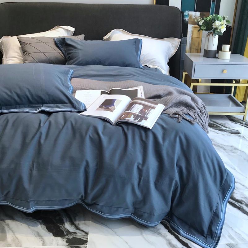 v全棉全棉80支400T匹马棉磨毛四被套纯棉高端加厚素色件套床上用品