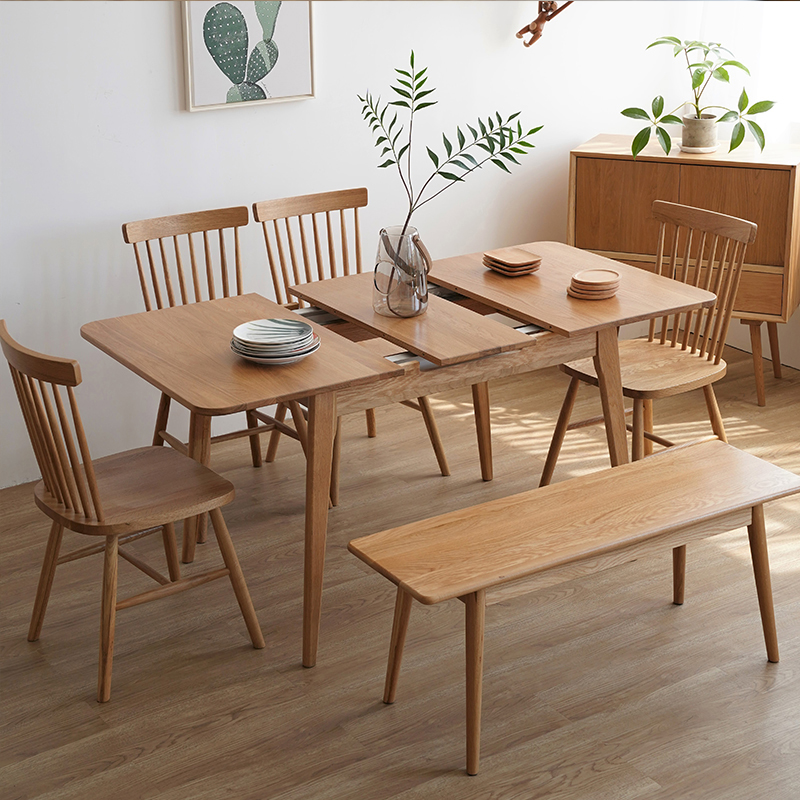 84d90cbff38f Nordic solid wood retractable dining table Japanese simple folding dining  table and chair combination small apartment lift white oak table
