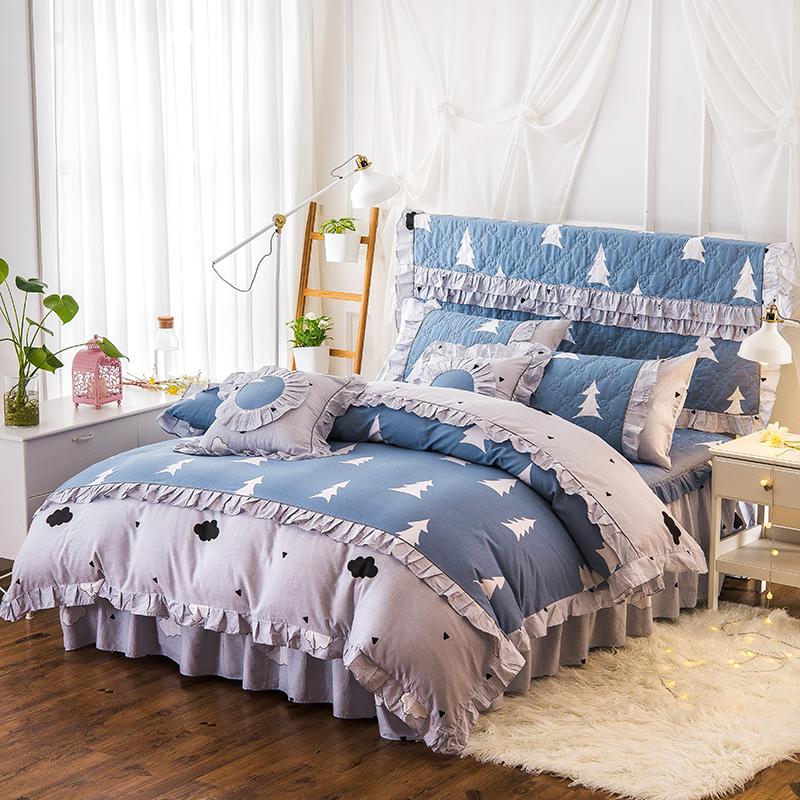 床罩加棉防滑床裙式纯棉四件套花边夹棉加厚件套全棉4床单