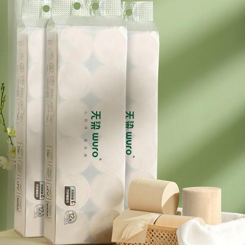 无染竹纤维实心卷纸家用卫生纸卷筒纸手纸家用整箱批150g*24卷