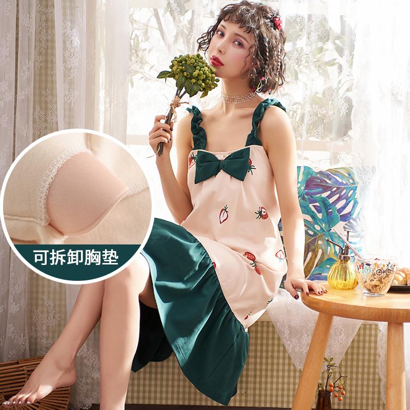 睡衣女2021年新款睡裙夏季纯棉女生春秋带胸垫大码吊带女士家居服