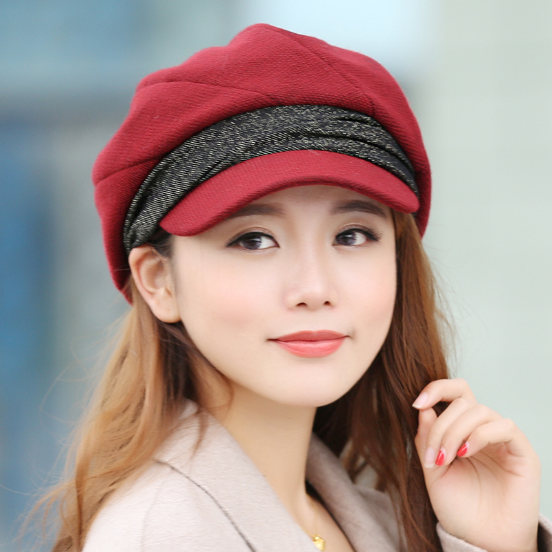 Hat female Winter Korean tide autumn and winter cap ladies were thin  knitted painter hat octagonal cap female beret 5b7cbea1b12