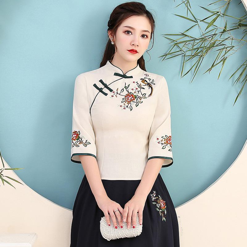 夏秋新款上衣风立领七分袖复古绣花民族中式修身棉麻女装盘扣T恤