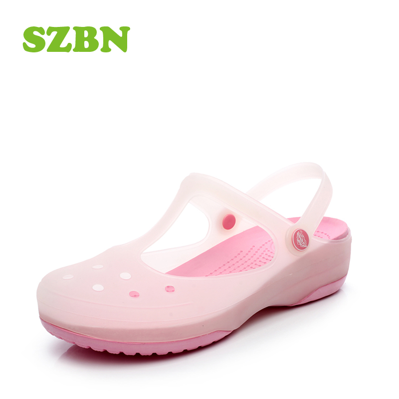 Top Hole shoes female 2018 summer new sandals female flat jelly shoes  DH32